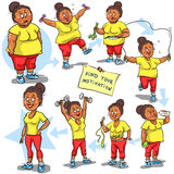 Woman achieving her Weight-Loss goal. Hand drawn funny cartoon characters, sketch Stock Image