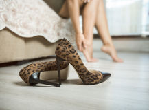 Woman with aching feet Royalty Free Stock Photography