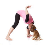 Woman is an acrobat Stock Photo