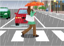 Woman Across the Street in the Rainy Day Vector Illustration. For any purpose such as book illustration, merchandise, sticker, website, social media and other Vector Illustration