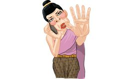Woman act cartoon, line sticker vector. Woman in many actions cartoon, line sticker vector Royalty Free Stock Photography