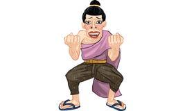 Woman act cartoon, line sticker vector. Woman in many actions cartoon, line sticker vector Royalty Free Stock Photos