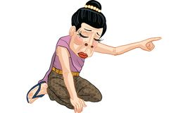Woman act cartoon, line sticker vector. Woman in many actions cartoon, line sticker vector Stock Photography