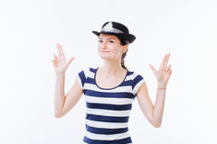 Woman acting as a police officer Stock Image