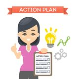 Woman with action plan. Woman with action plan on board with lightbulb and gears. Concept of time management and strategy vector illustration