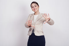 Woman with active expressions Stock Photo