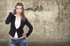 Woman with active expressions Stock Images