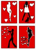 Woman active silhouettes Royalty Free Stock Images