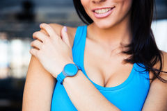 Woman with activity tracker Royalty Free Stock Photo