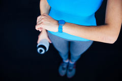 Woman with activity tracker Royalty Free Stock Images