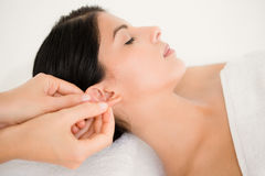 Woman in an acupuncture therapy Stock Photography