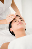 Woman in an acupuncture therapy. At the health spa Royalty Free Stock Photo