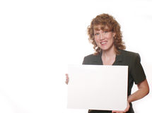 Woman Ad 3. Woman holding a white board for advertisement Stock Photography