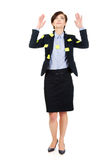 Woman with adhesive cards and hands up. Stock Image