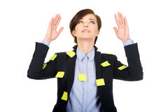 Woman with adhesive cards and hands up. Royalty Free Stock Images