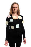 Woman With Adhesive Notes Stock Photography