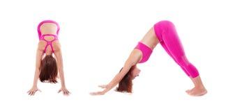 Woman Adho Mukha Svanasana, Downward-Facing Dog Yoga Pose Front Stock Photo