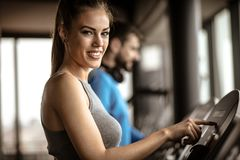 Speed. Woman at gym. stock photography