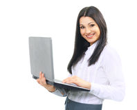 Woman administrator with laptop. Portrait of a woman administrator with laptop on white background. photo is a blank space for your text Royalty Free Stock Photos