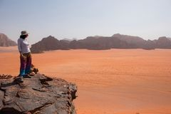 Woman admiring desert landscape on a cliff Royalty Free Stock Image