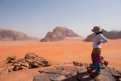Woman admiring desert landscape on a cliff Royalty Free Stock Photo