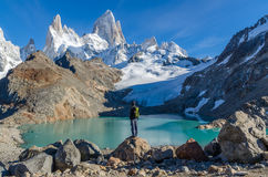 Woman admiring Fitz Roy scenic view Stock Photo