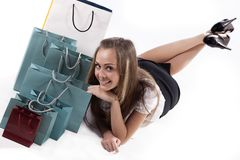 Woman admiring her shopping Stock Photography