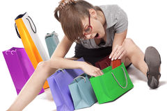 Woman admiring her shopping Stock Photos