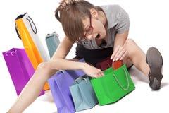 Woman admiring her shopping Stock Photos