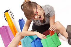 Woman admiring her shopping Royalty Free Stock Photo