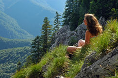 Woman admiring the landscape Stock Image
