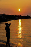 Woman admiring sunset Royalty Free Stock Image