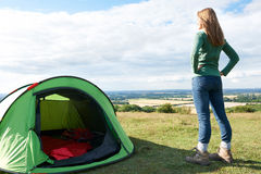 Woman Admiring View On Camping Holiday Royalty Free Stock Image