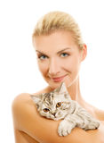 Woman with adorable kitten Stock Photo