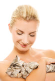 Woman with adorable kitten Stock Image