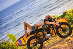 Woman adventure on motorcycle Stock Images
