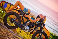 Woman adventure on motorcycle Royalty Free Stock Photo