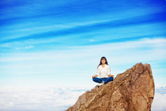 Woman in adventure. Woman on a mountain peak Stock Images