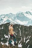 Woman adventurer hiking in mountains wanderlust. Travel Lifestyle adventure concept active vacations outdoor mountaineering sport success Royalty Free Stock Photography