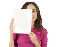 Woman with an advertisement billboard Royalty Free Stock Photos