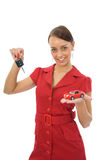 Woman advertises the cars Stock Photography