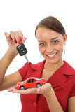 Woman advertises the cars Royalty Free Stock Images