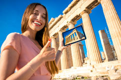 Woman advertising Acropolis Royalty Free Stock Photos