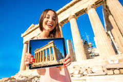 Woman advertising Acropolis Royalty Free Stock Photo