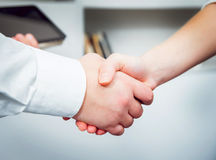 Woman adviser with a businessman. Handshake. Background Stock Images