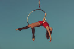 Woman aerial acrobat. Royalty Free Stock Image