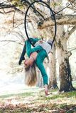 Woman aerial hoop  dance in forest Stock Photo