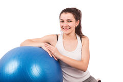 Woman aerobics ball Stock Images