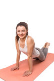 Woman aerobics mat Stock Image