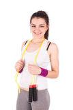 Woman aerobics rope Stock Photography
